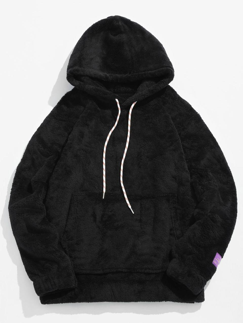 Men's Solid Pouch Pocket Fluffy Hoodie - Black S