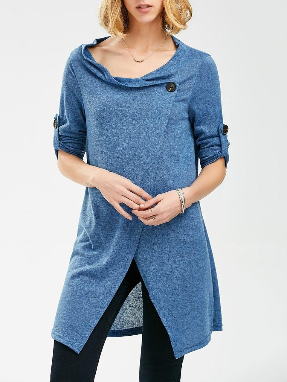 Women's Pullover Long Sleeves Button Sweater - Blue
