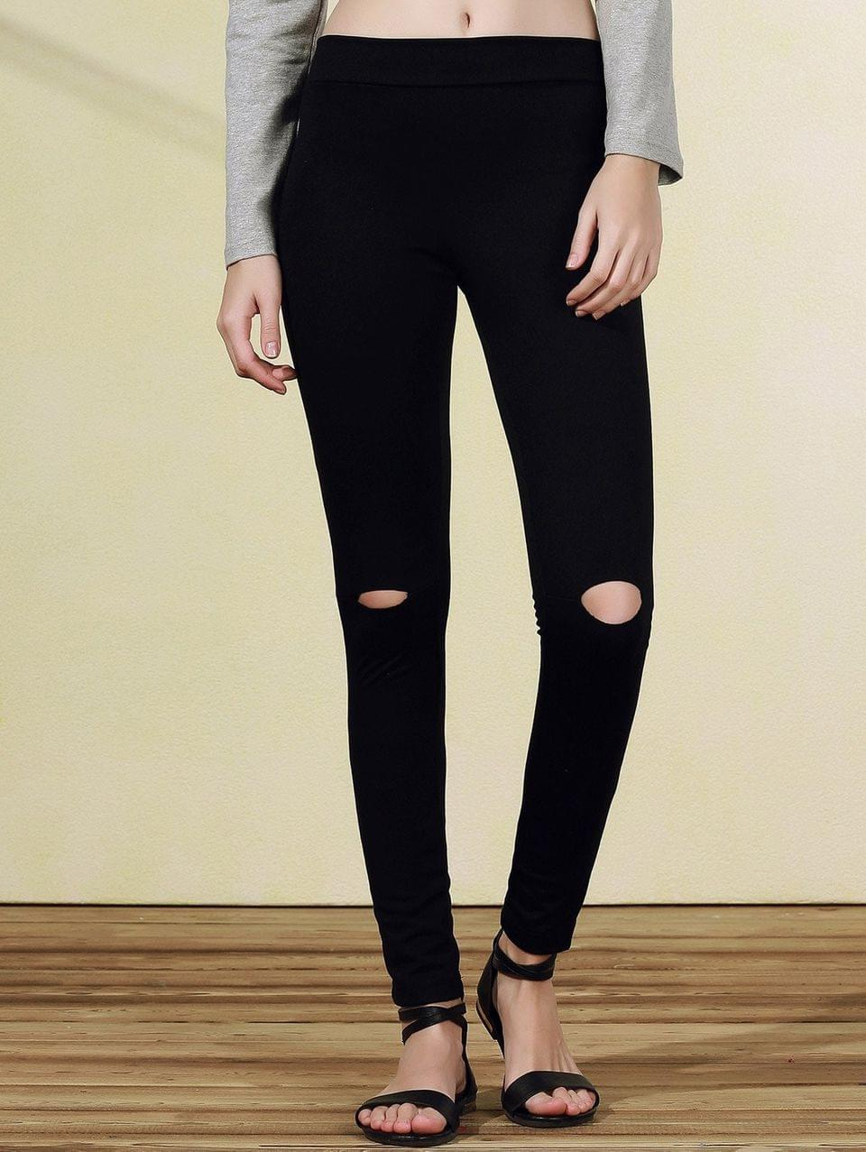Women's Ripped Casual Black Narrow Feet Pants - Black 2xl