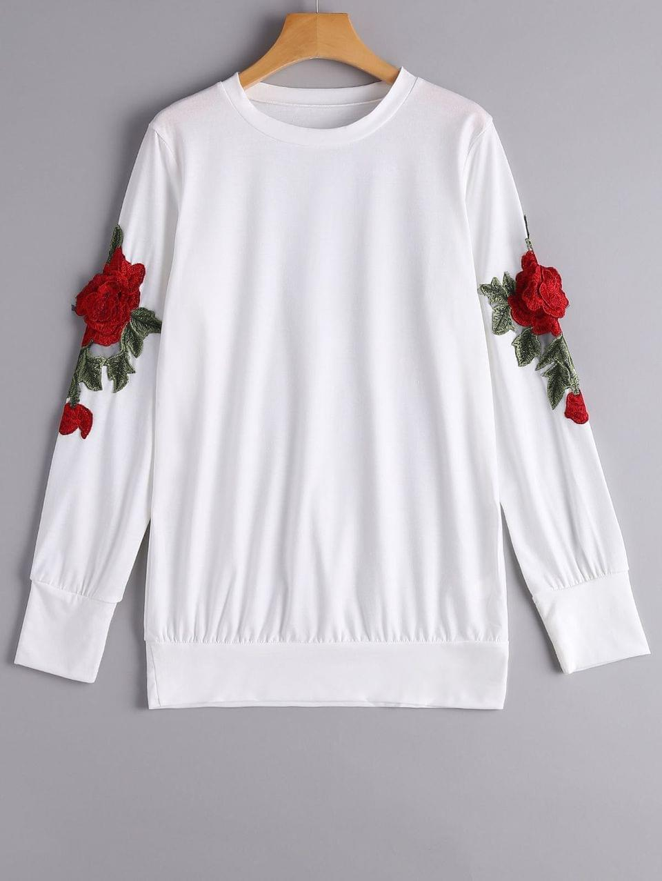 Women's Loose Floral Embroidered Patches Sweatshirt - White M