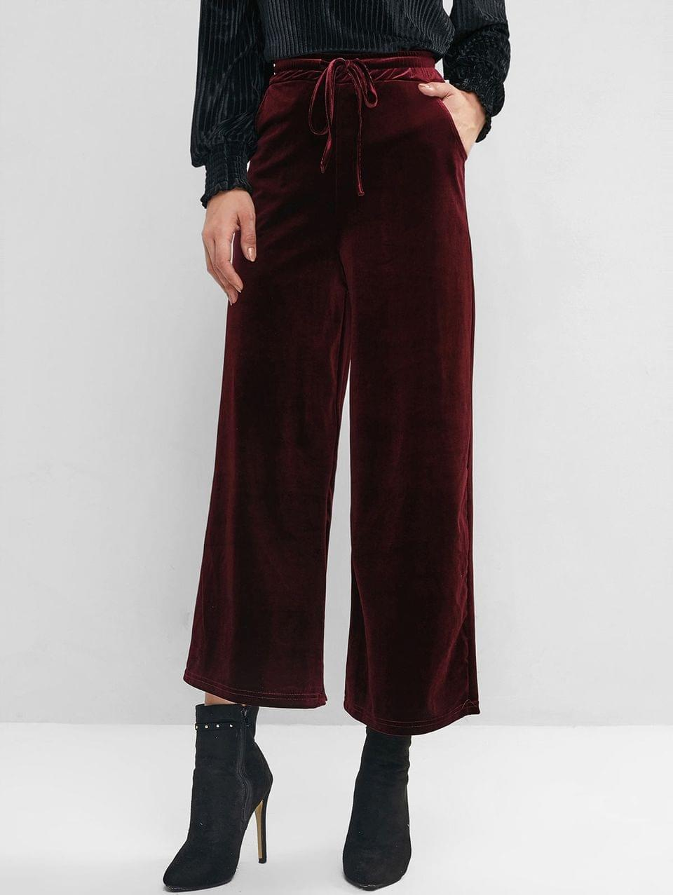 Women's Velvet Pocket Drawstring Wide Leg Pants - Red Wine Xl