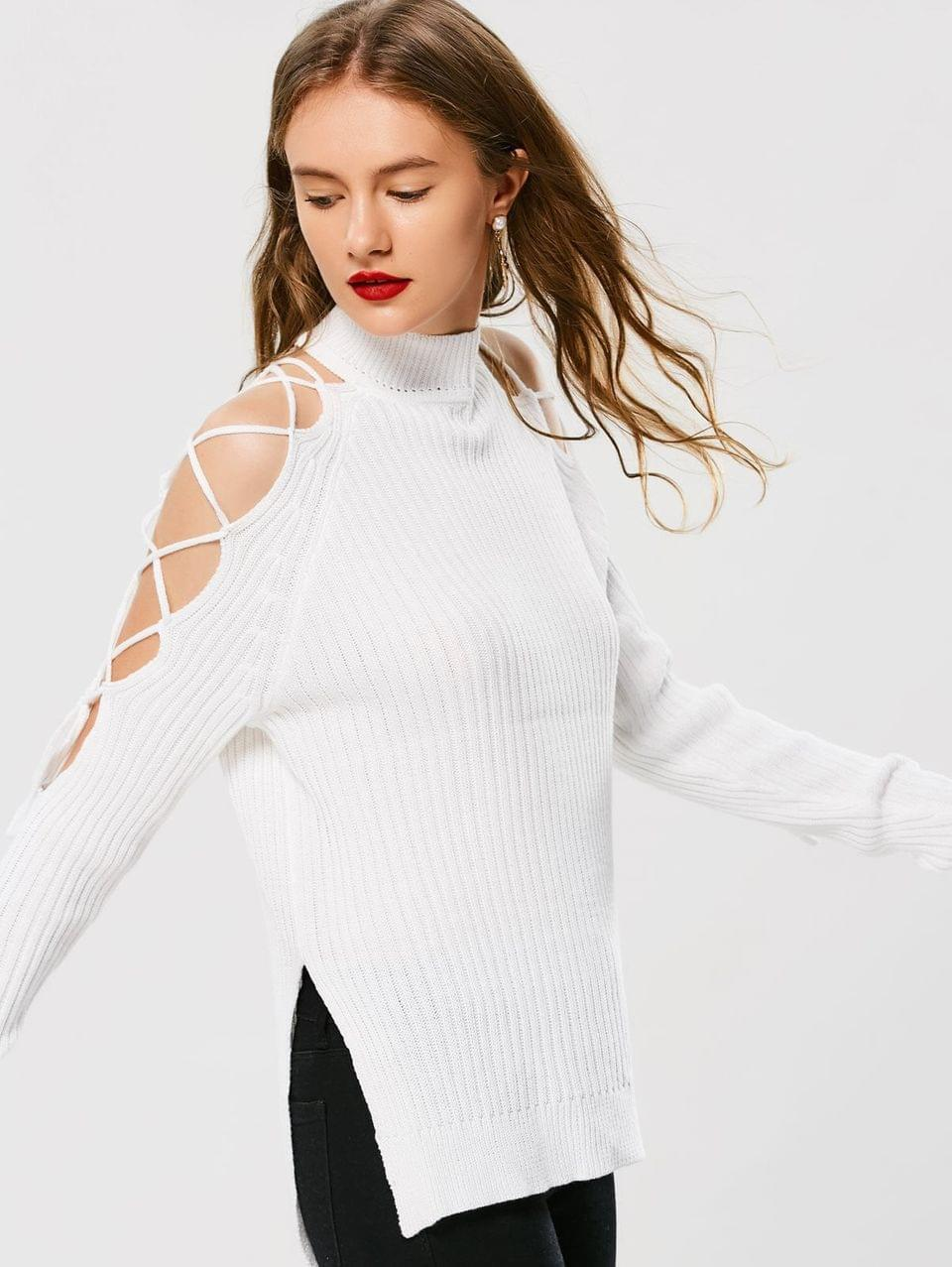 Women's Lace Up High Neck Sweater - White