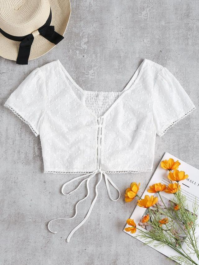 WOMEN Puff Sleeve Lace Up Broderie Crop Top - White S