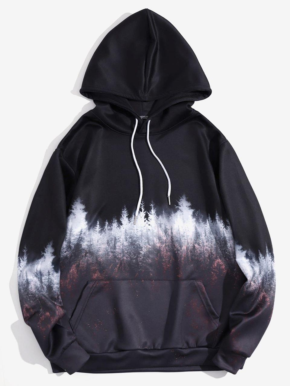 Men's Forest Scenery Print Pullover Kangaroo Pocket Hoodie - Black Eel 3xl