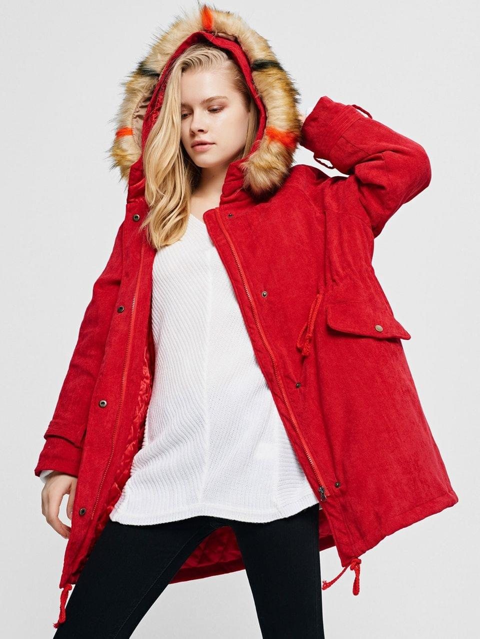 Women's Corduroy Hooded Padded Raglan Sleeve Coat - Lava Red 2xl