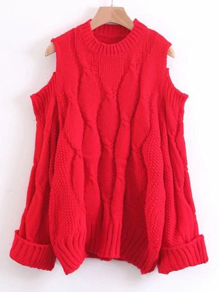 Women's Curled Sleeve Cold Shoulder Cable Knit Sweater - Red