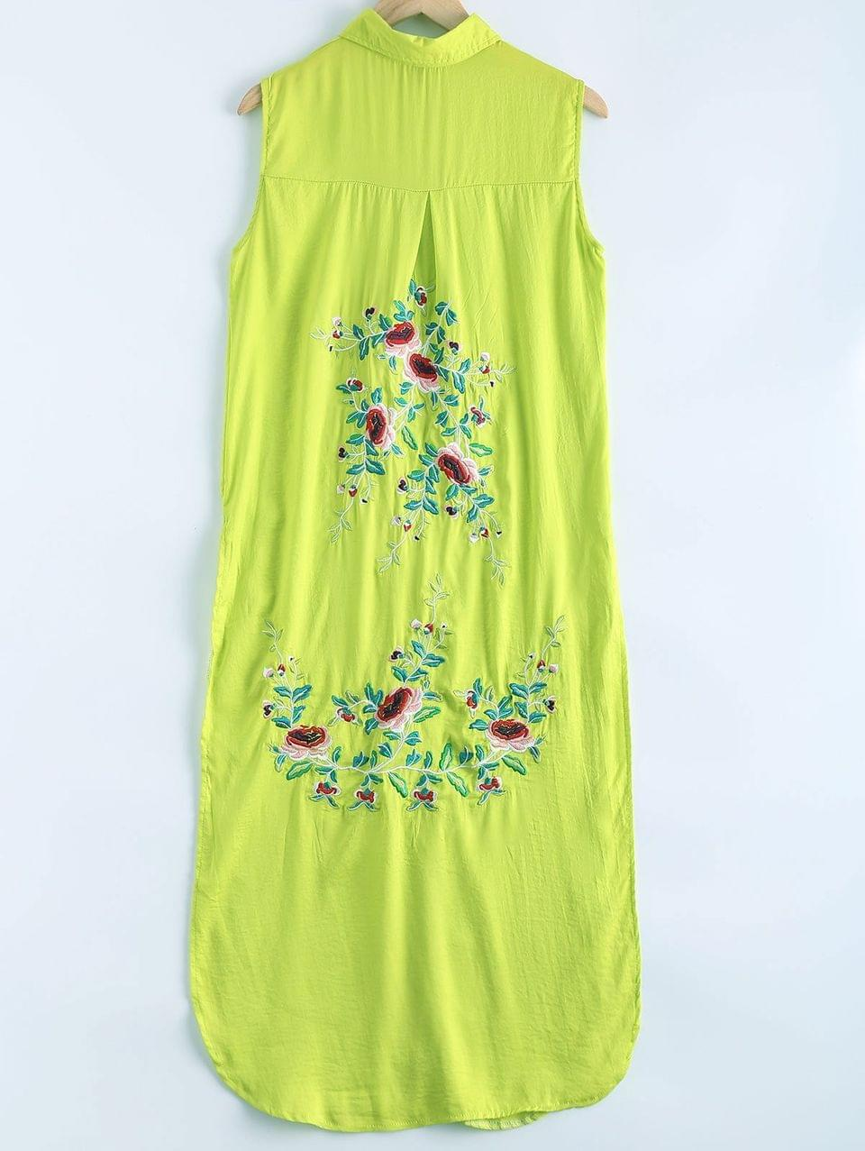 Women's Shirt Collar Long Embroidery High Slit Tank Top - Green L