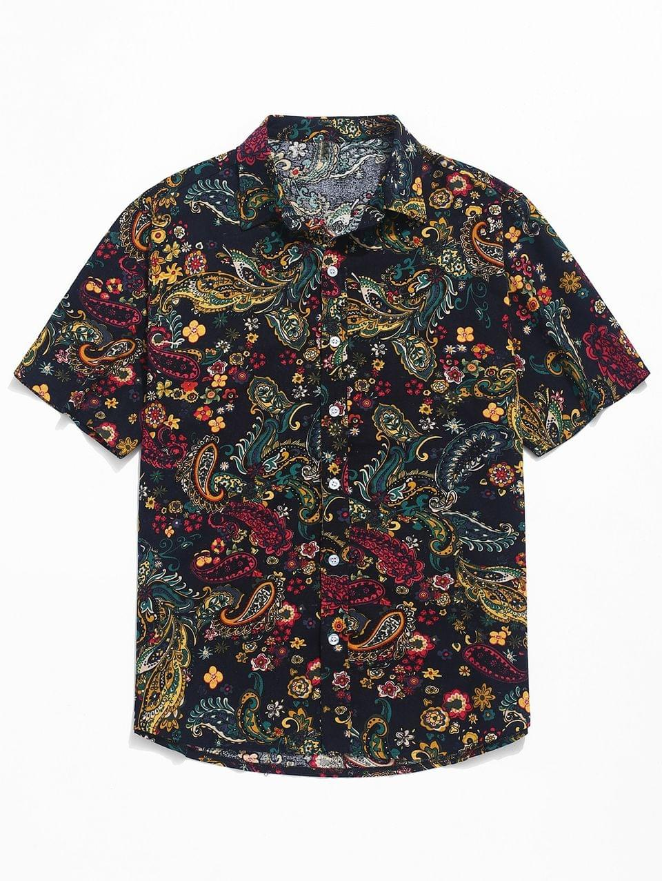 Men's Paisley Print Short Sleeve Shirt - Black Xs