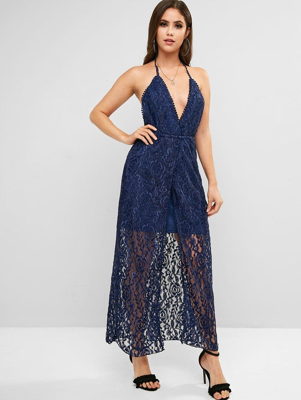 Women's Halter Prom Backless Lace Maxi Dress - Blue M