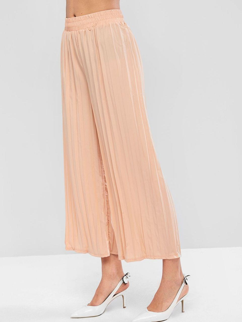 Women's Solid High Waisted Pleated Wide Leg Pants - Apricot M