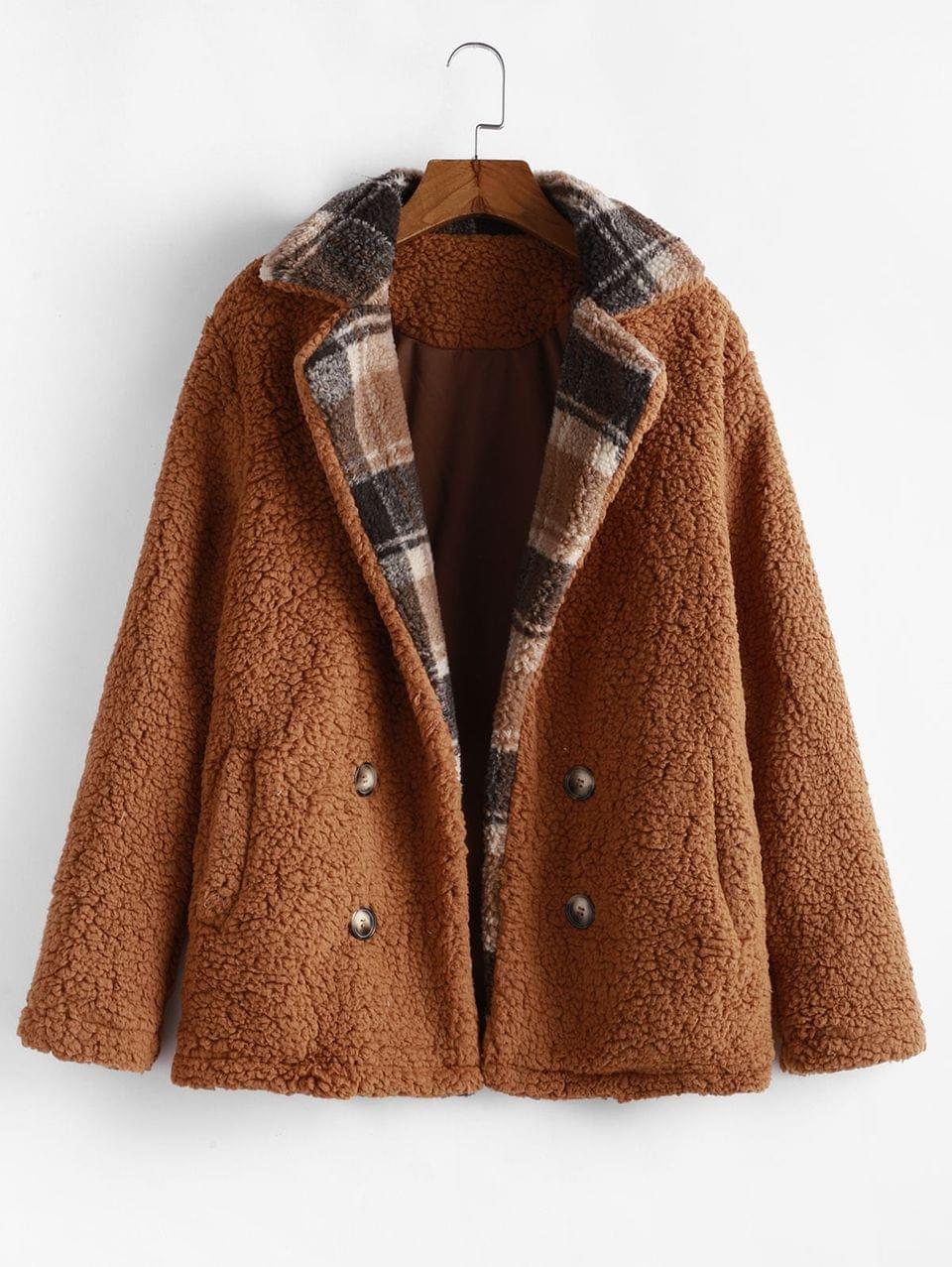 Women's Fuzzy Plaid Coat - Brown Xl