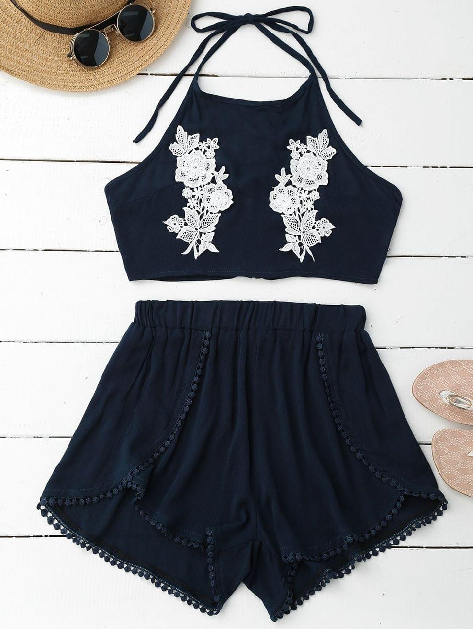 Women's Lace Floral Halter Crop Top And Shorts - Pearl Indigo Blue M