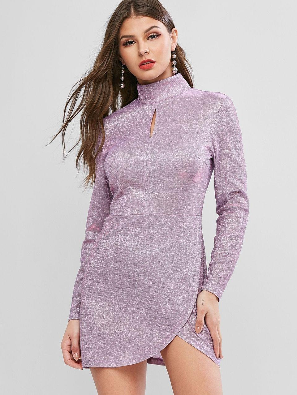 Women's Glitter Mock Neck Mini Bodycon Dress - Mauve M