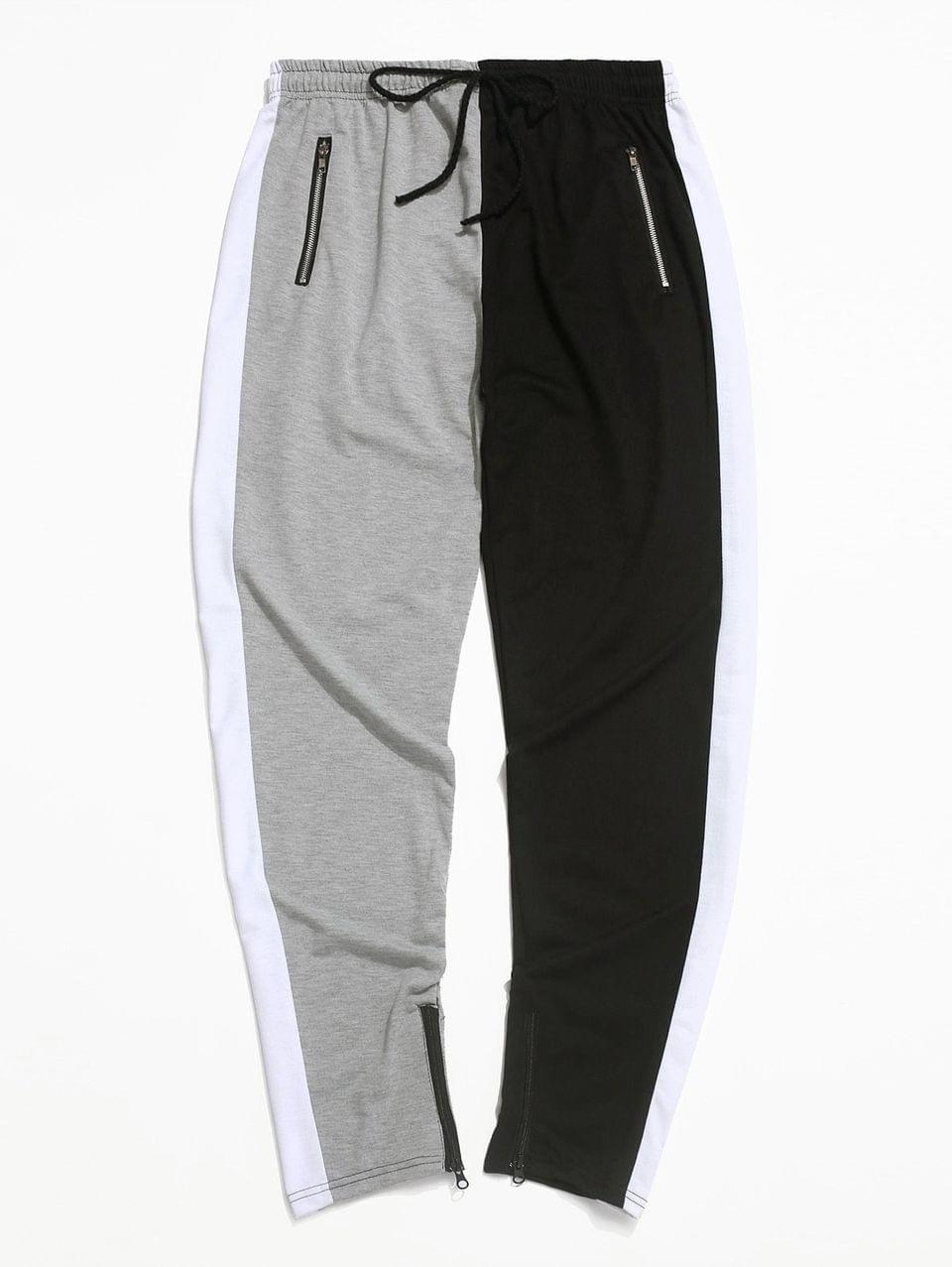 Men's Color-blocking Spliced Zip-hem Sport Drawstring Pants - Gray Xs