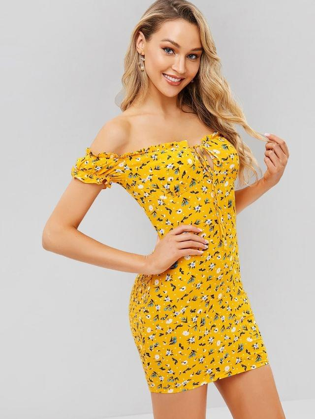 WOMEN Smocked Floral Mini Off Shoulder Dress - Bee Yellow M