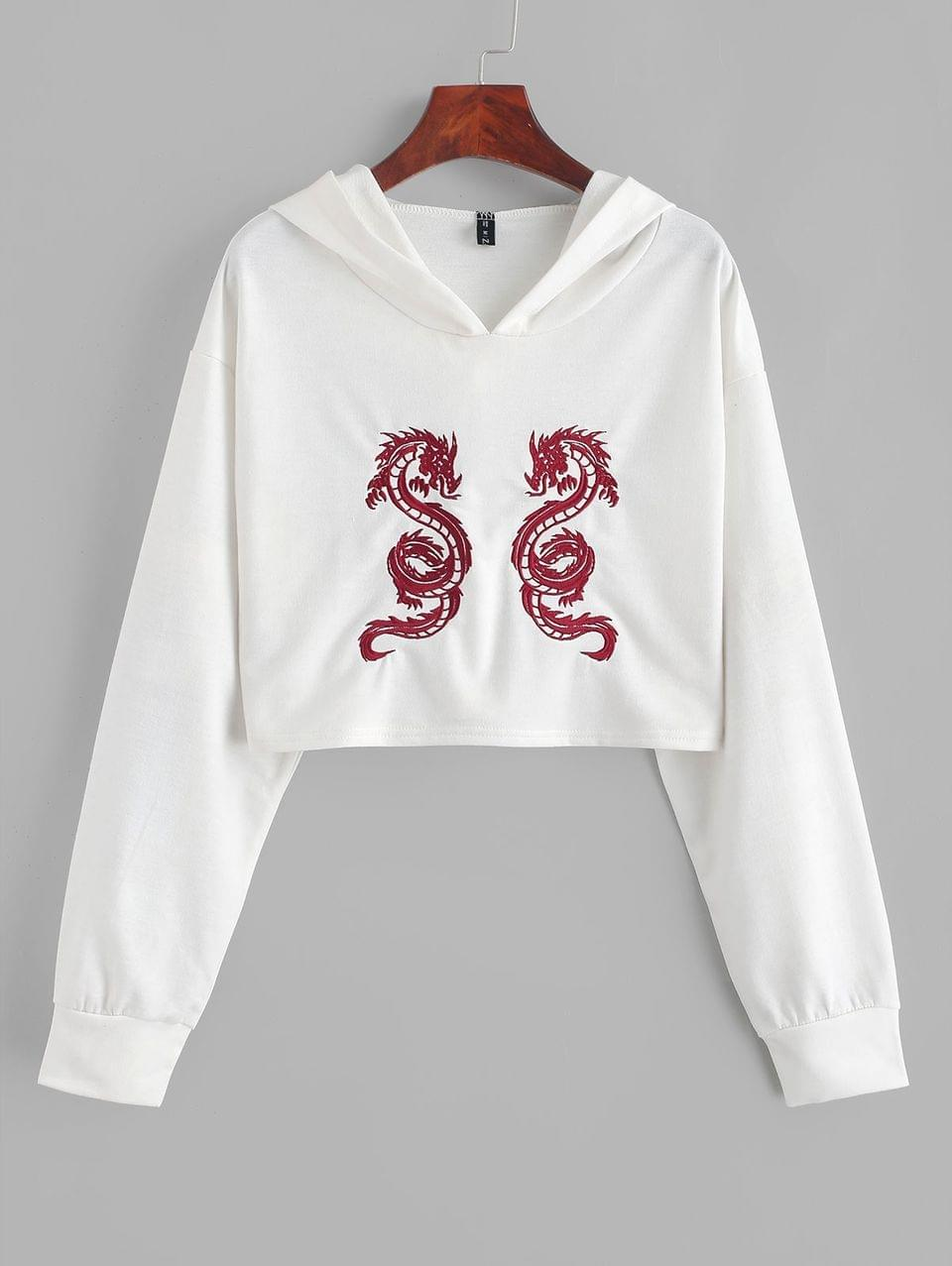 Women's Cropped Dragon Embroidered Hoodie - White L