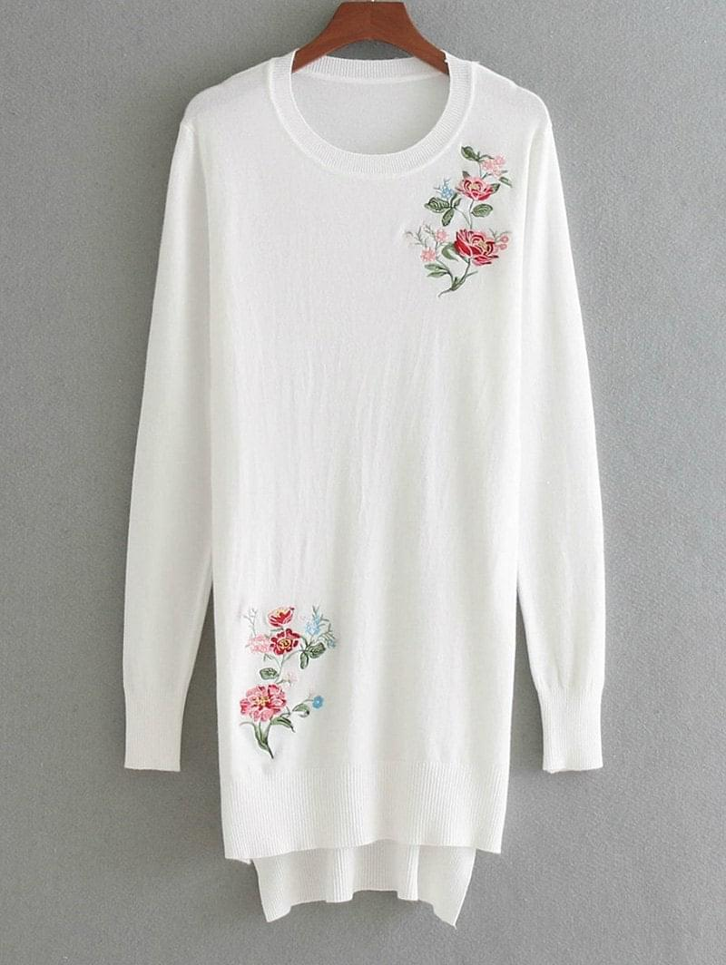 Women's High Low Floral Embroidered Sweater - White