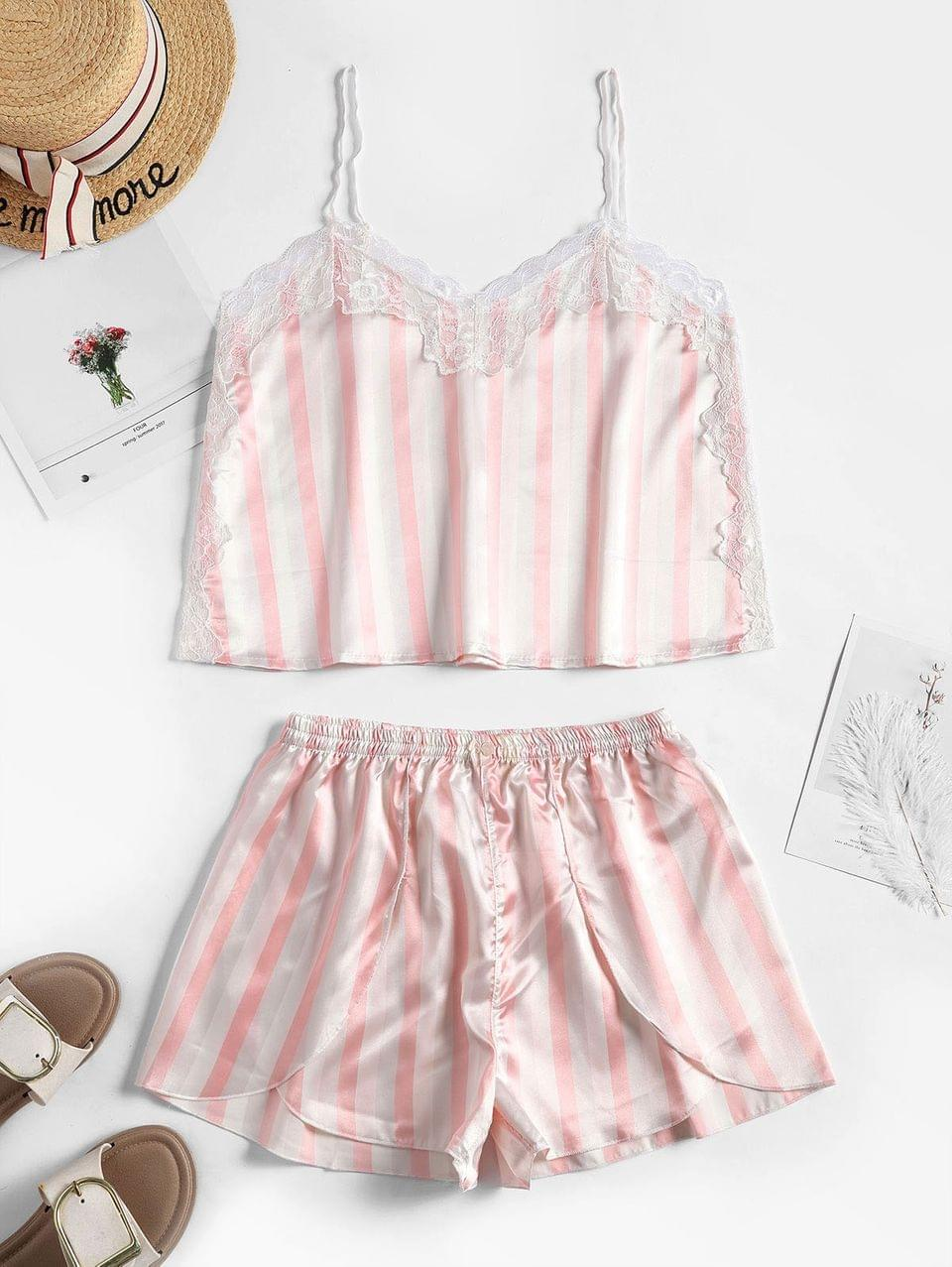 Women's Lace Insert Striped Satin Pajama Shorts Set - Pink M