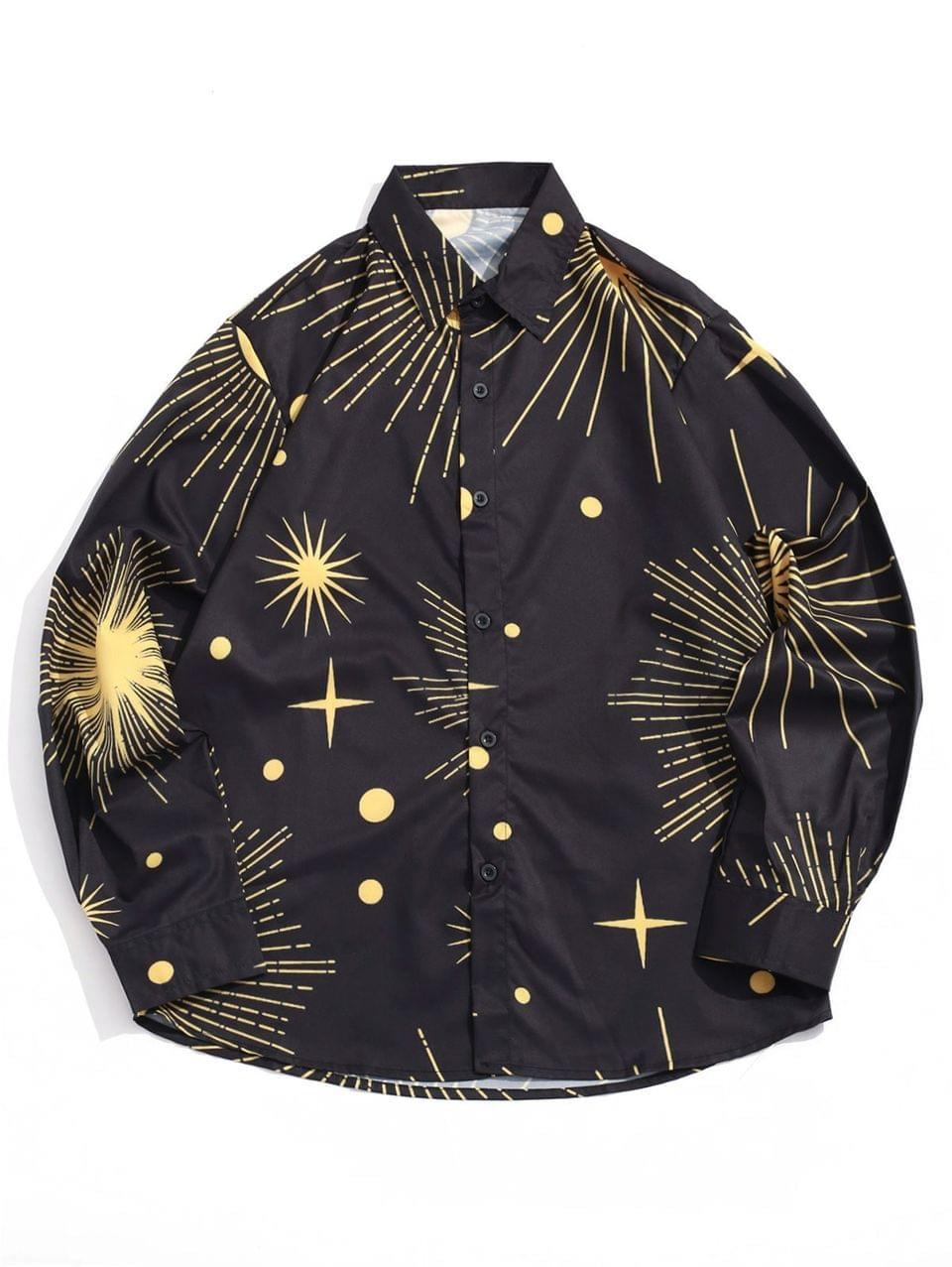 Men's Sparkly Sun And Moon Star Dots Print Long Sleeve Shirt - Black L