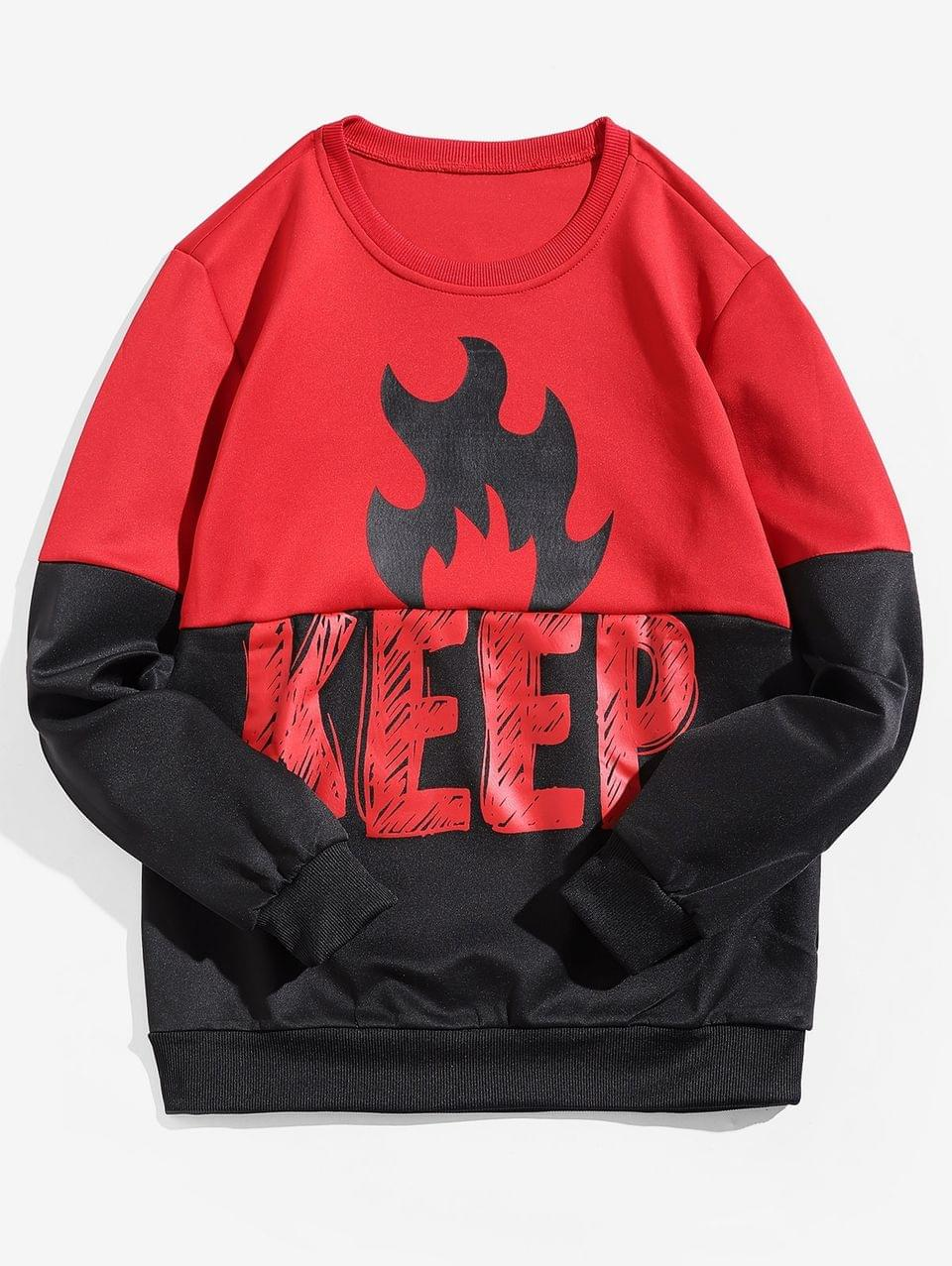 Men's Keep Letter Flame Print Colorblock Spliced Pullover Sweatshirt - Red S