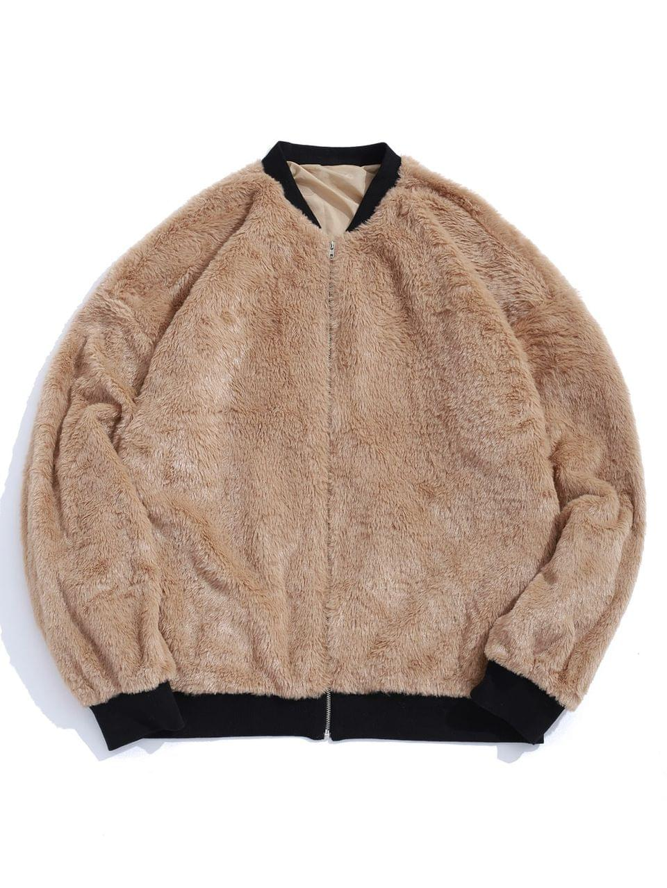 Men's Contrast Zip Up Faux Fur Jacket - Tan Xl