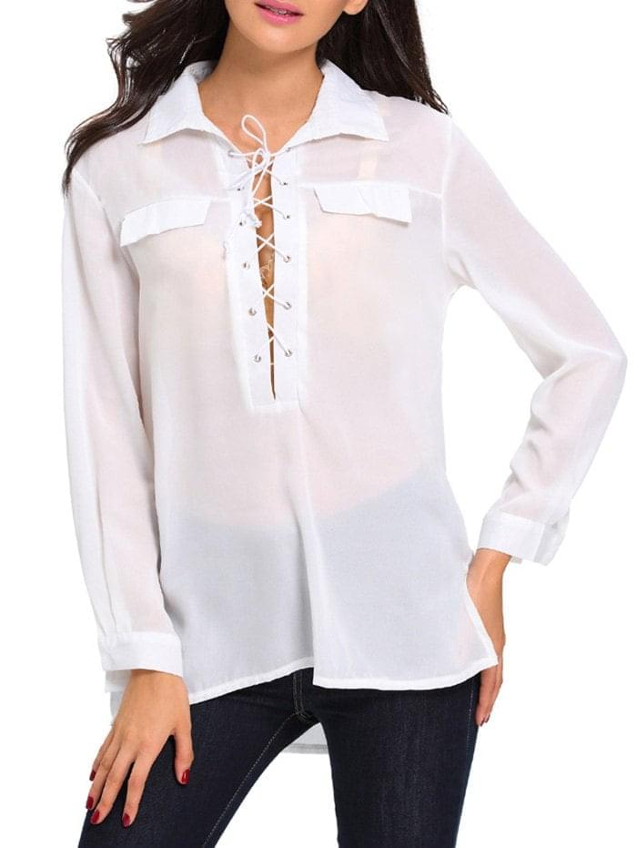 Women's Lace Up High Low See Through Shirt - White M