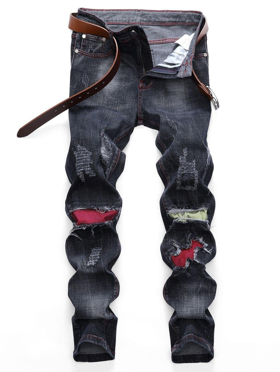 Men's Colored Patchwork Ripped Scratch Long Straight Jeans - Black 32