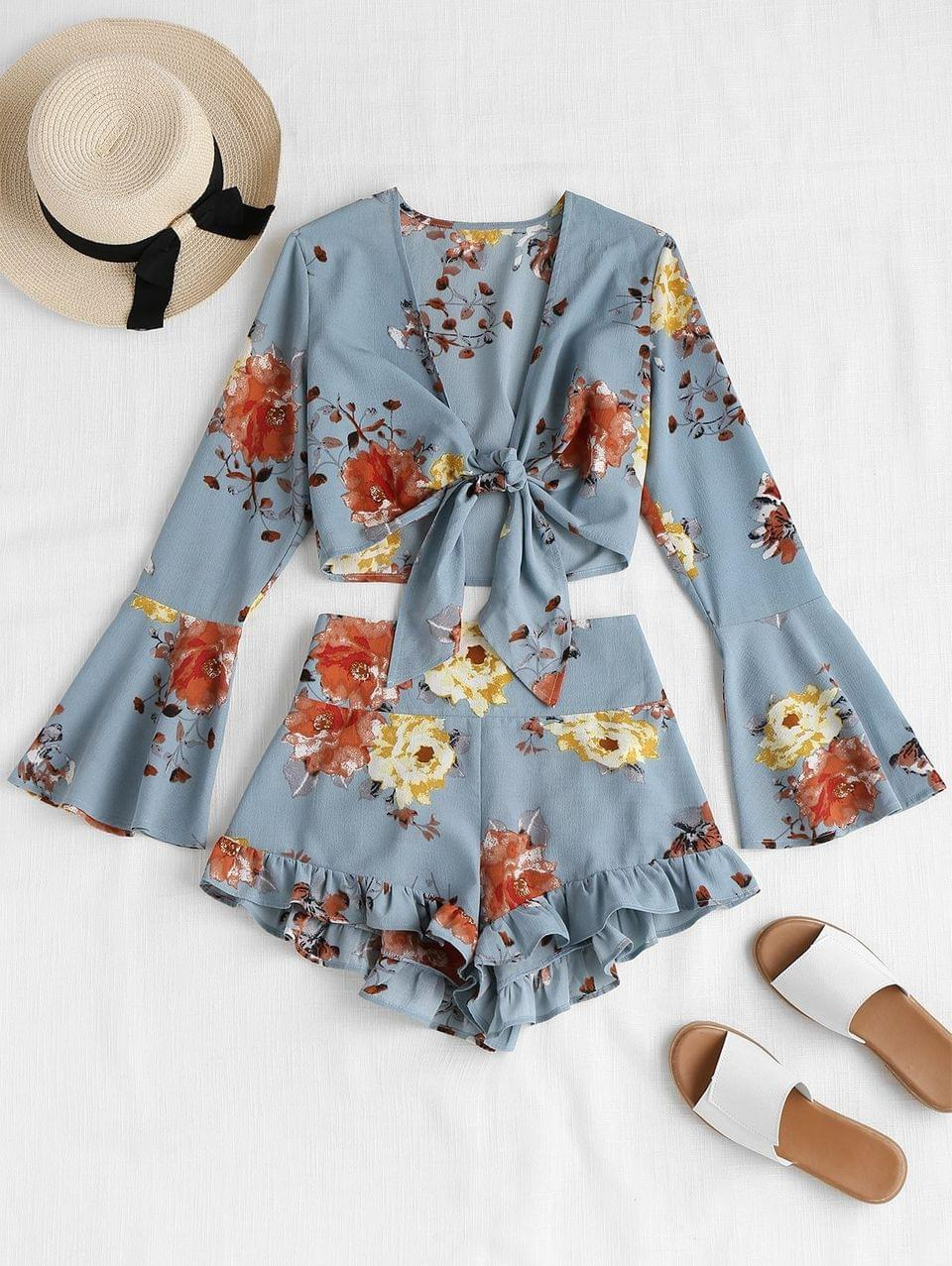 Women's Bell Sleeve Floral Tie Front Matching Set - Baby Blue M