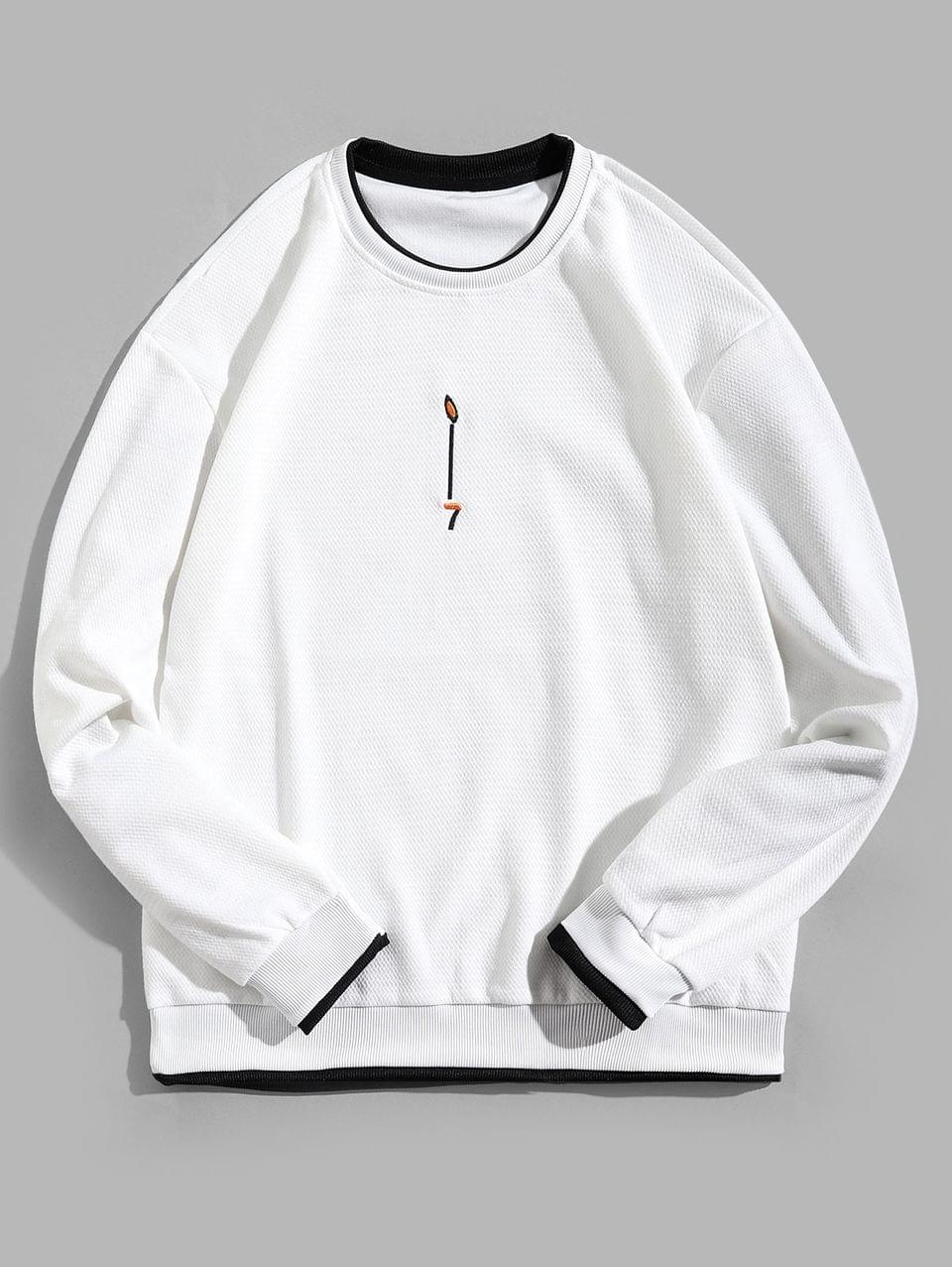Men's Contrast Trim False Two Pieces Ringer Sweatshirt - White M