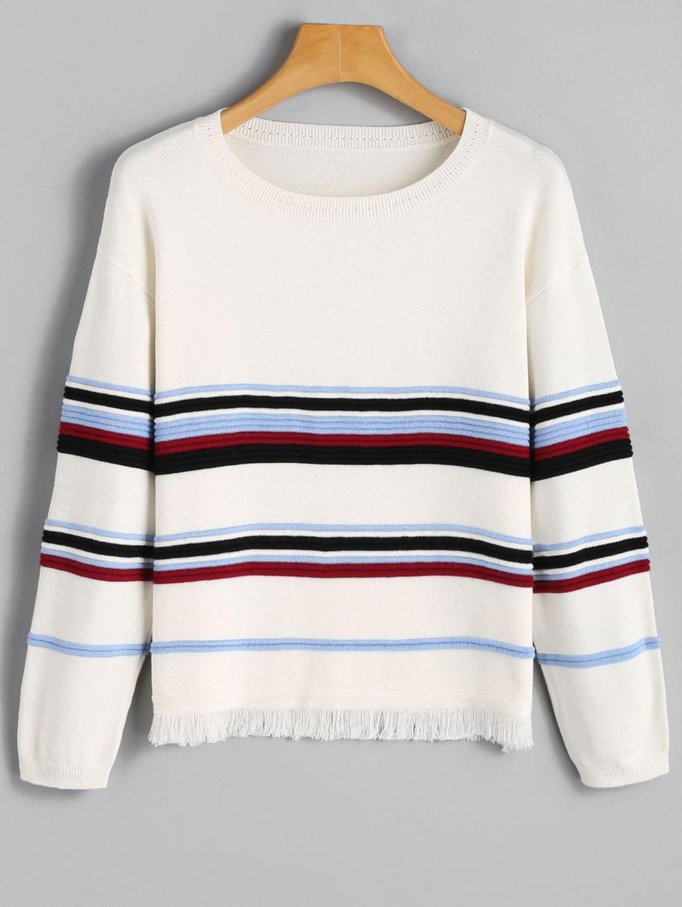 Women's Striped Frayed Hem Sweater - White M