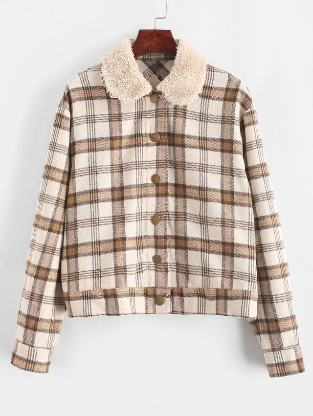 WOMEN Snap Button Fleece Plaid Jacket - Multi L