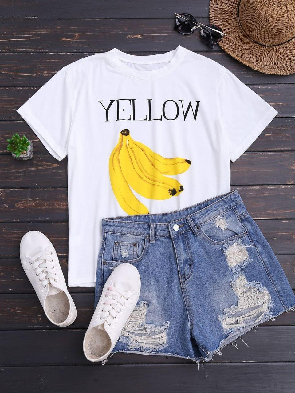 Women's Banana Print Short Sleeve T-Shirt - White