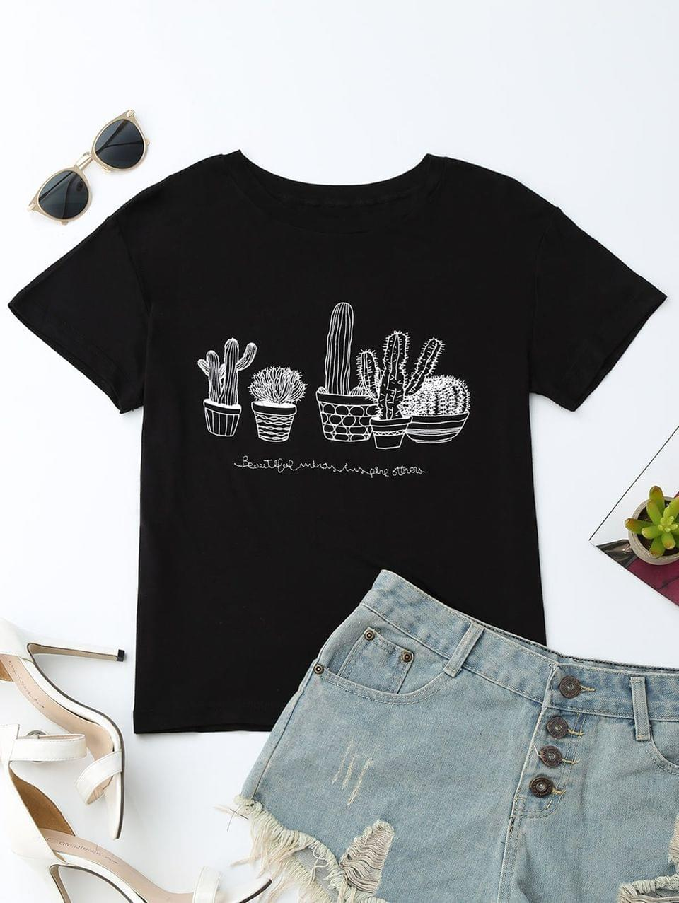 Women's Cactus Graphic Cotton Blend T-Shirt - Black L