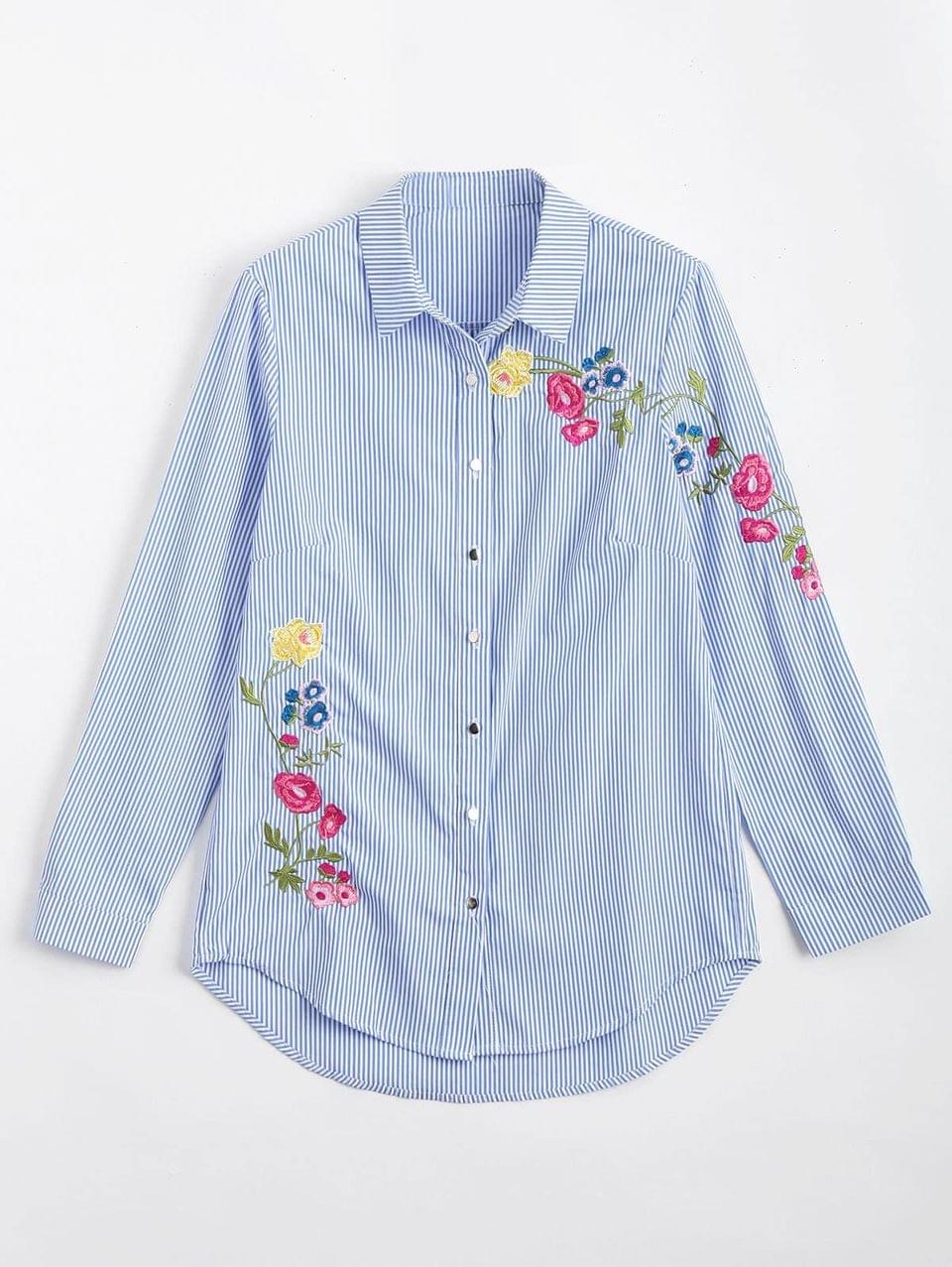 Women's Button Down Floral Embroidered Stripes Shirt - Stripe S
