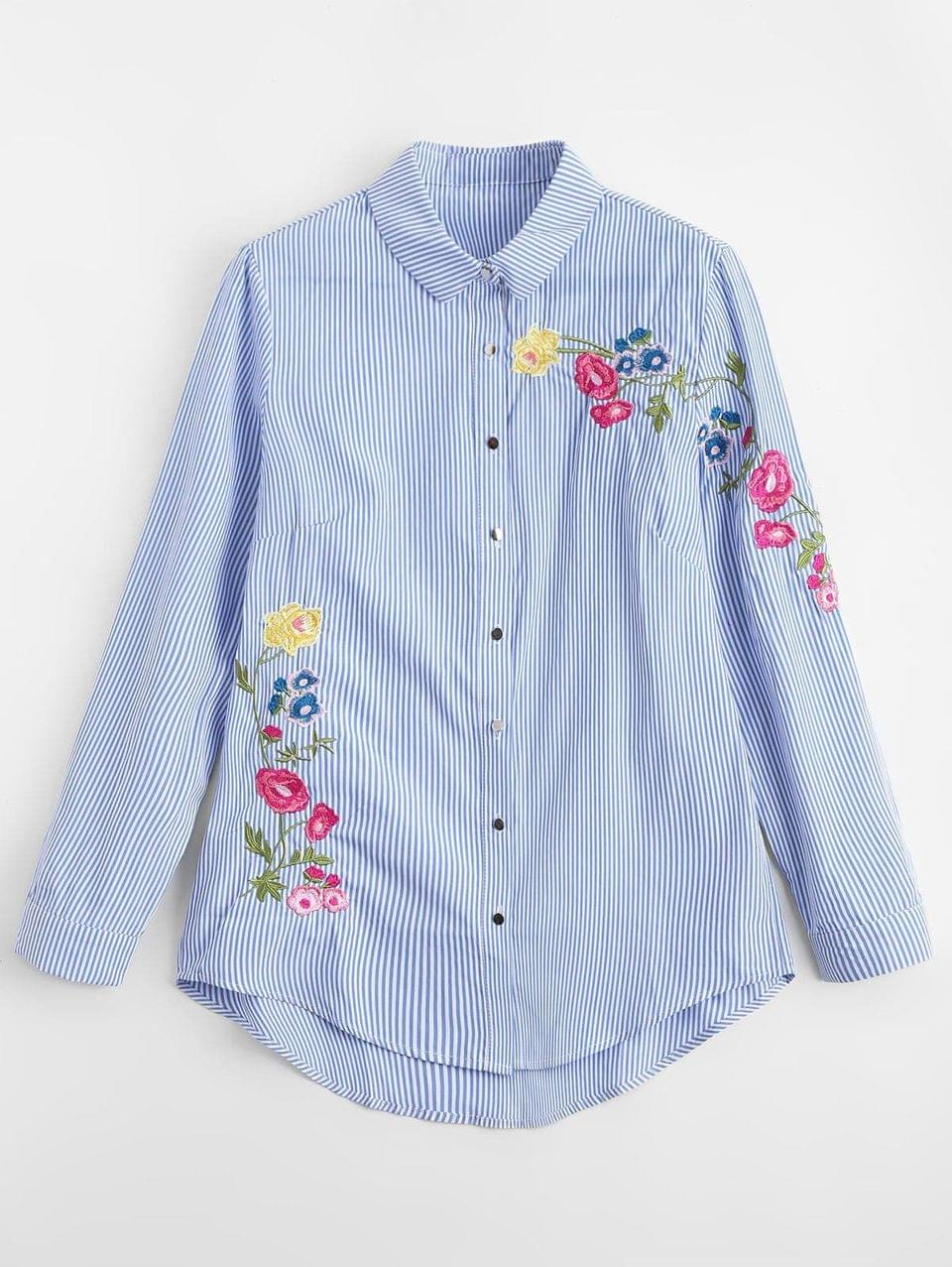Women's Loose Stripes Embroidered Shirt - Stripe S
