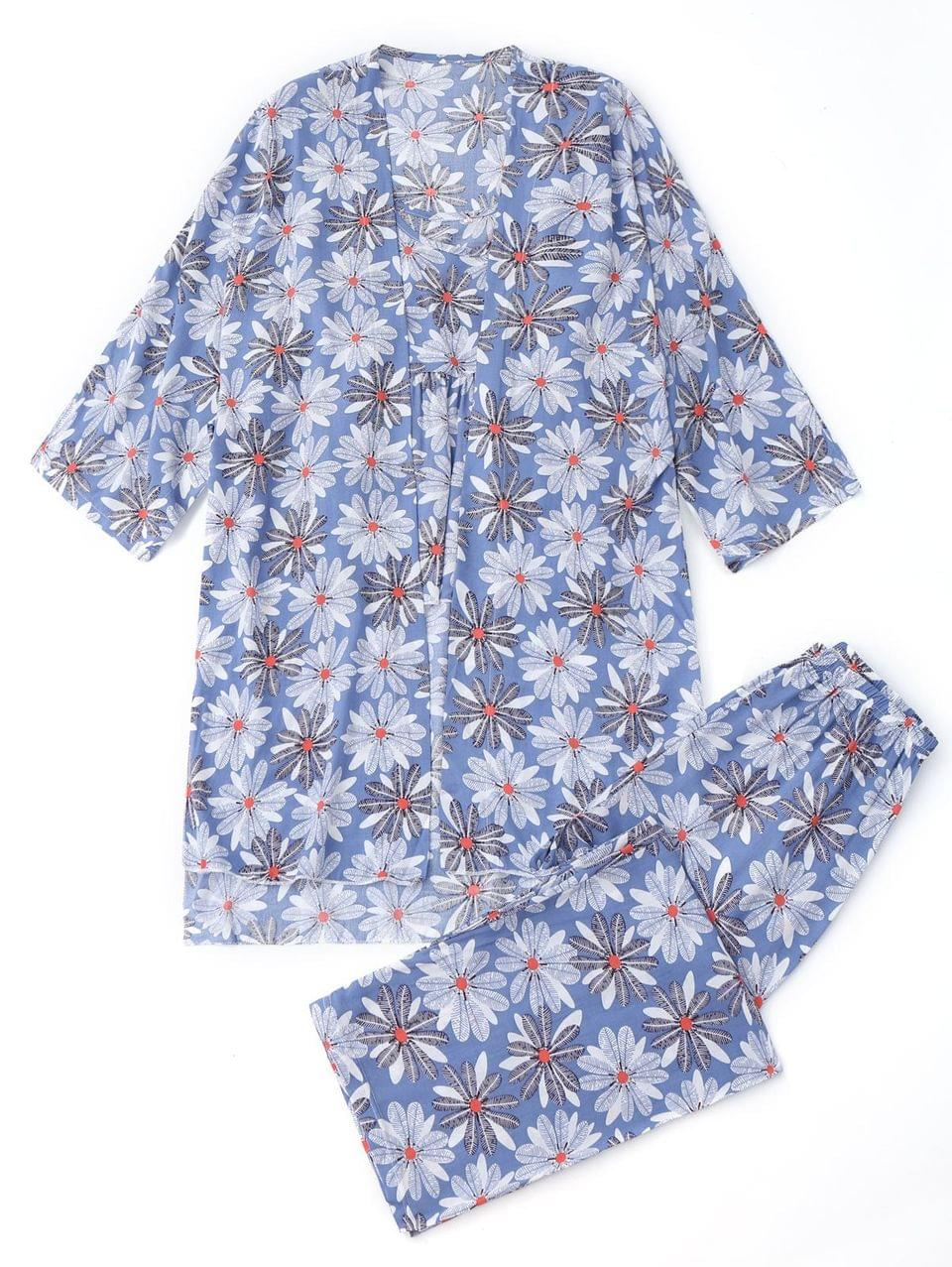 Women's Floral Kimono And Cami Top And Pants Pajamas - Floral Xl