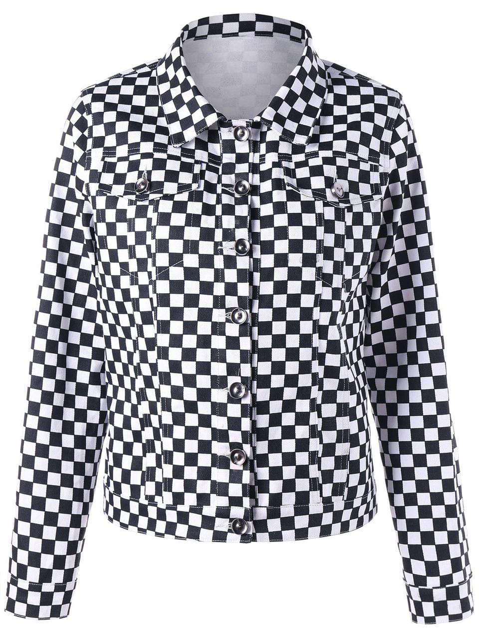 Women's Checkered Flap Pockets Shirt Jacket - Black White Xl
