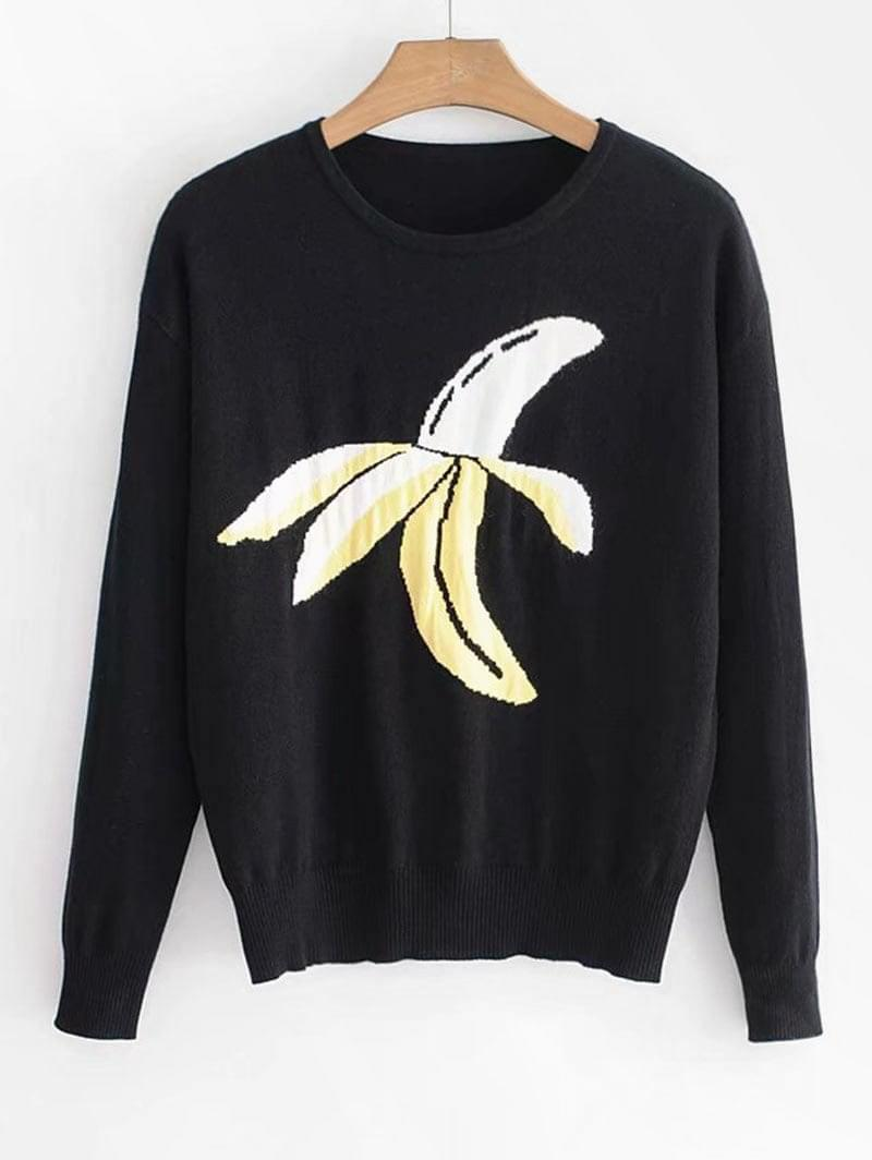 Women's Banana Print Sweater - Black S