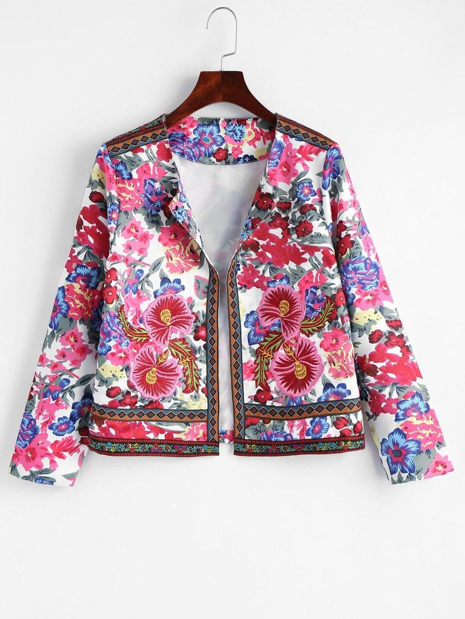 Women's Floral Patched Floral Print Open Jacket - Floral M