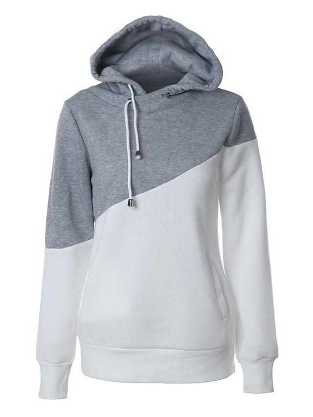 WOMEN Casual Color Block Hoodie - Grey And White S