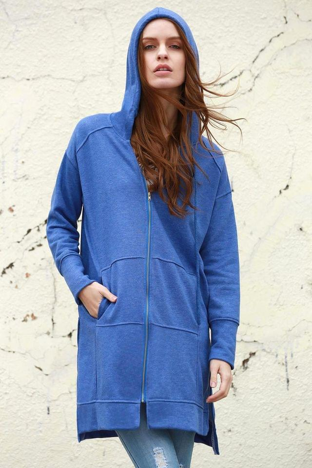 WOMEN Ziggy Washed Solid Color Hoodie - Blue M