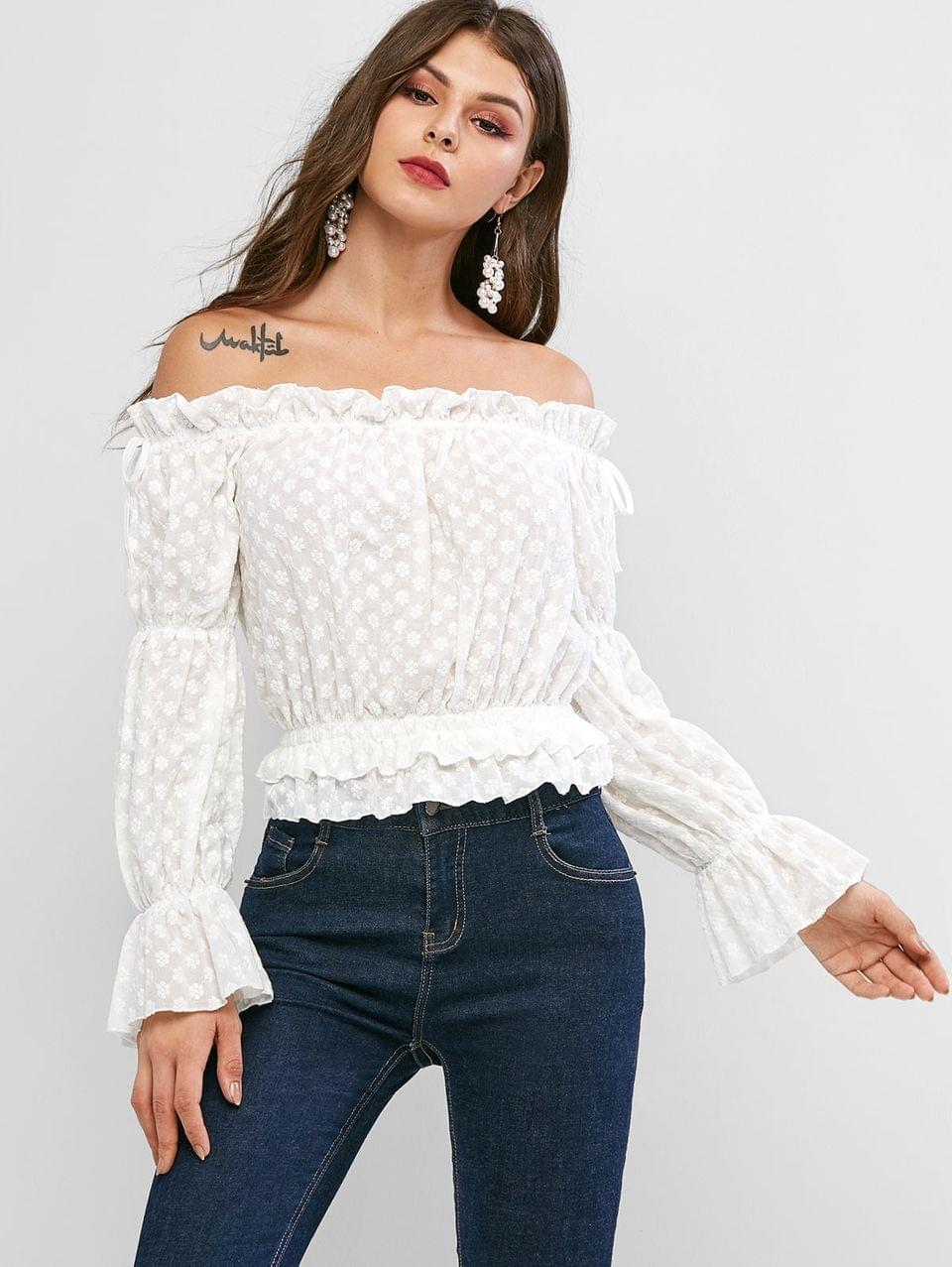 Women's Poet Sleeve Floral Embroidered Off Shoulder Blouse - White M
