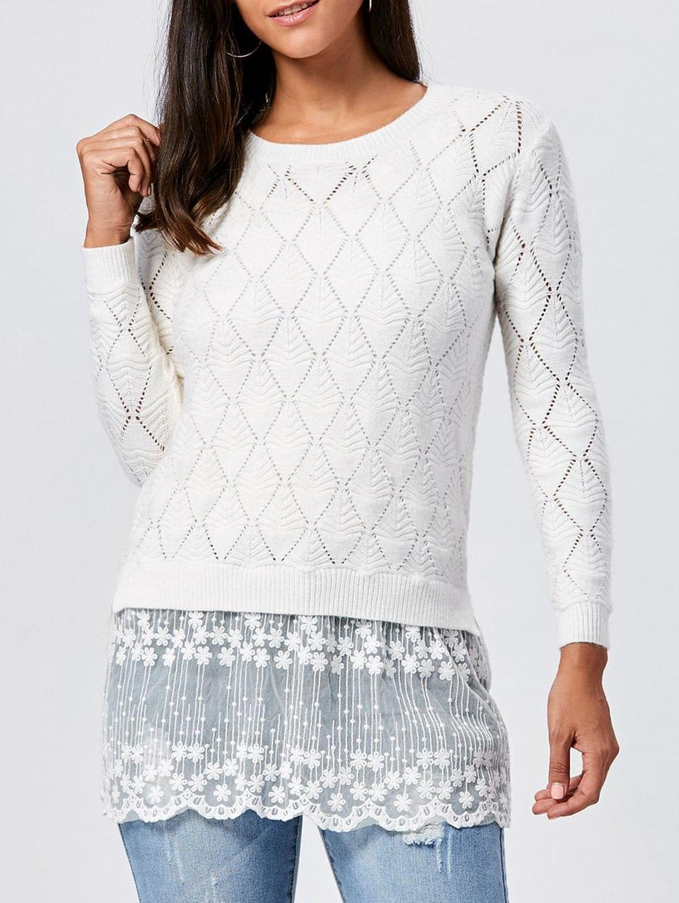 Women's Lace Panel Hollow Out Argyle Ribbed Pullover Sweater - White M