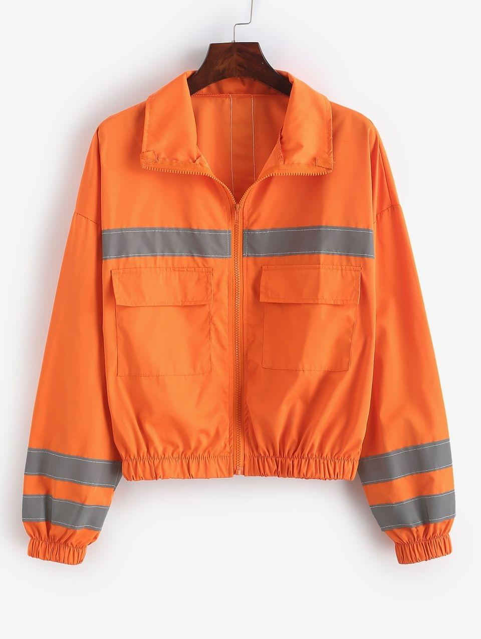 Women's Reflective Neon Drop Shoulder Pocket Zip Jacket - Orange S