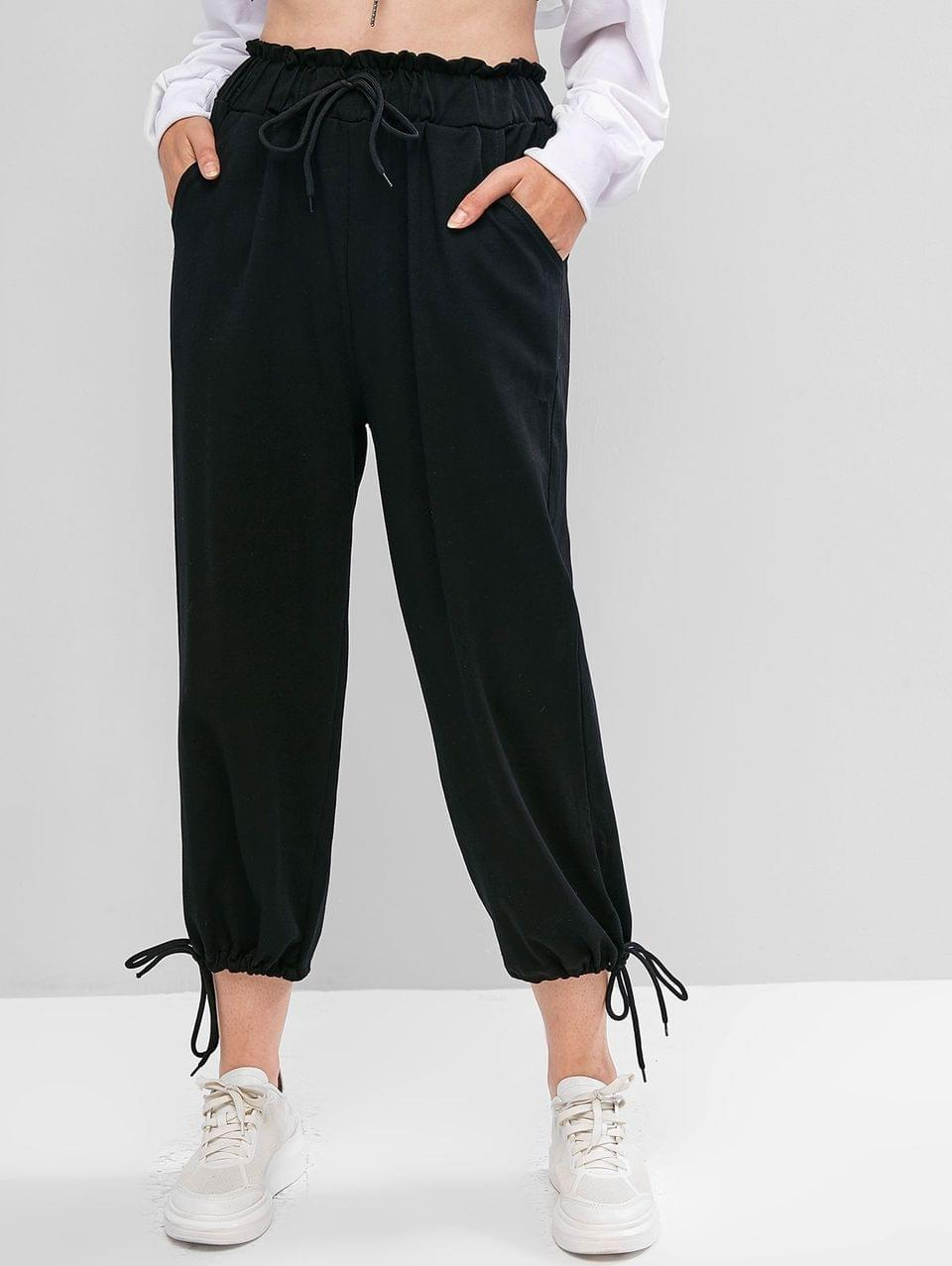 Women's Drawstring Cuffs Pocket High Waisted Crop Pants - Black