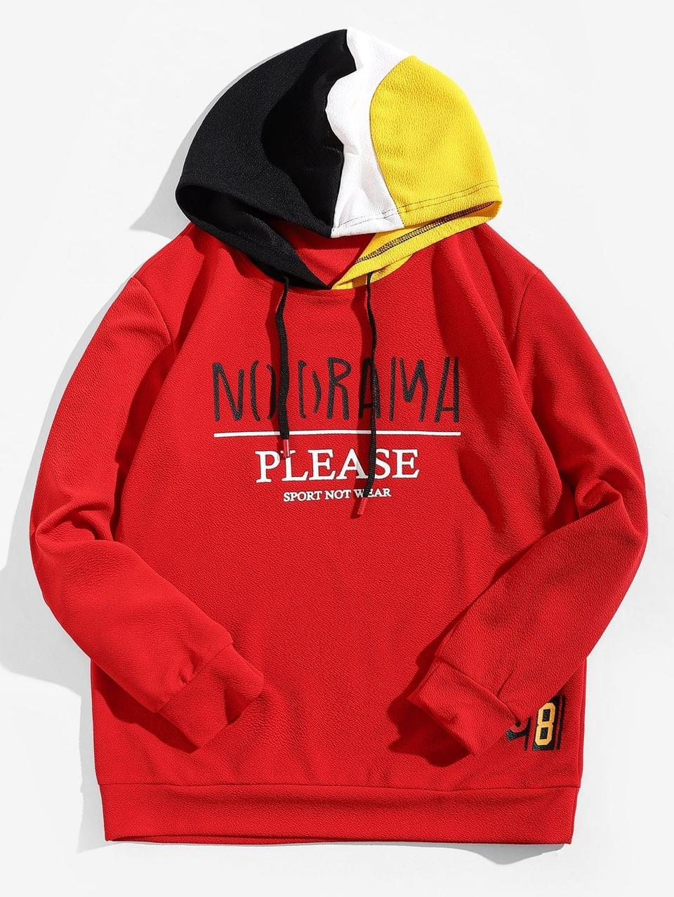 Men's Letter Graphic Color-blocking Spliced Hoodie - Red S