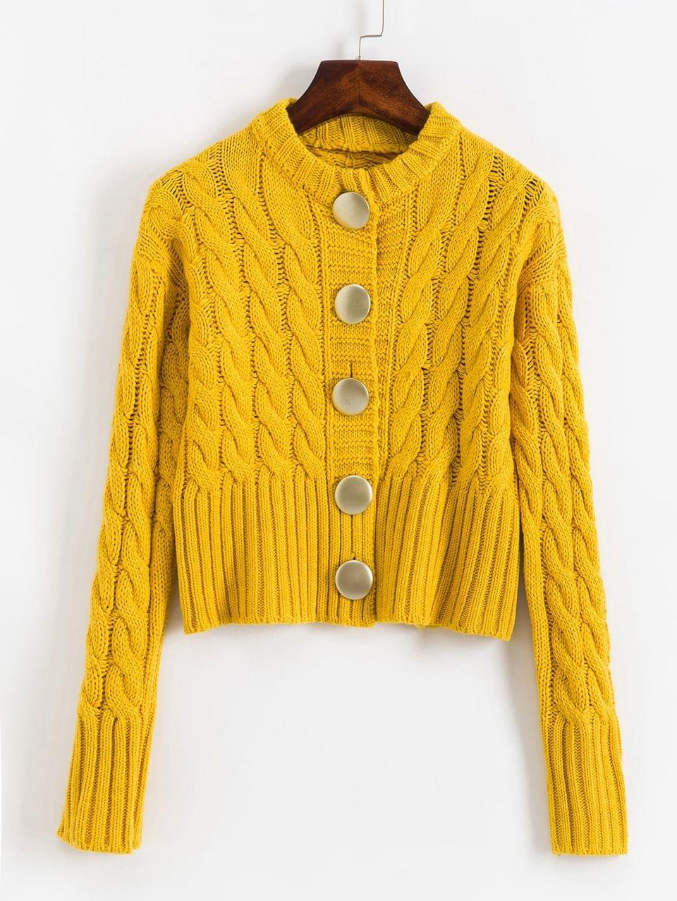 Women's Buttoned Cable Knit Chunky Cardigan - Corn Yellow