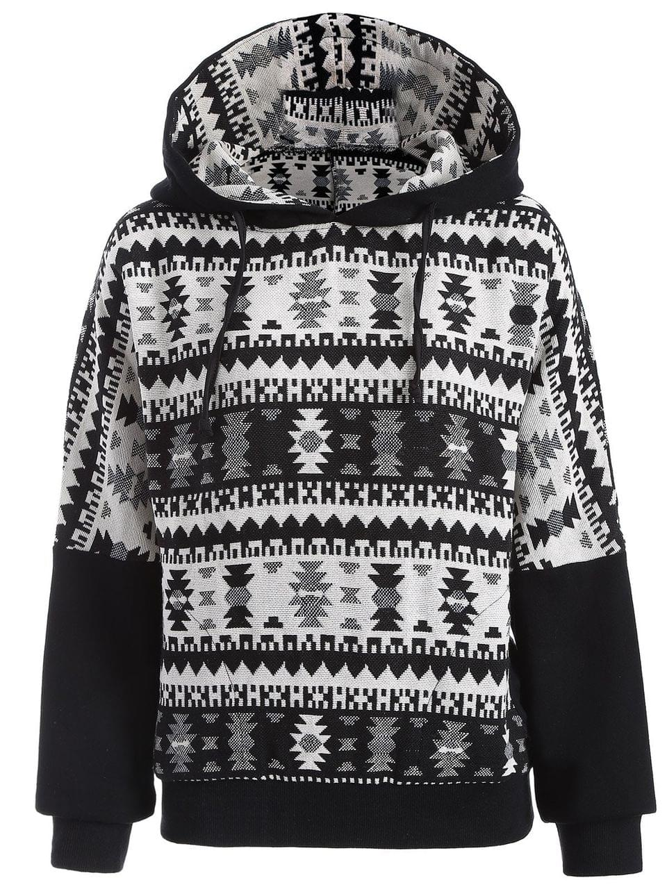Women's Tribal Jacquard Pullover Batwing Hoodie - White And Black M