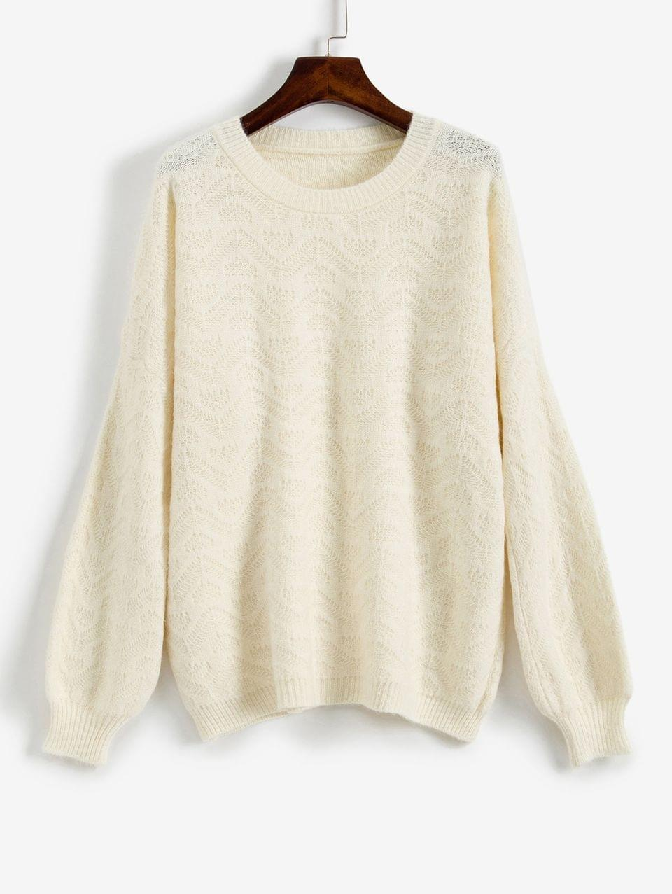 Women's Loose Fit Drop Shoulder Sweater - Warm White M