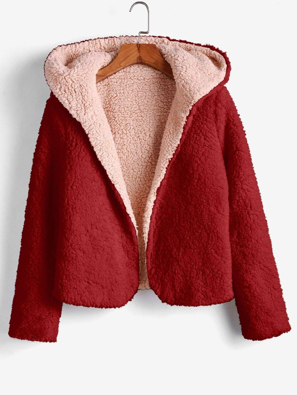 Women's X Alexis Ricecakes Hooded Reversible Teddy Coat - Firebrick M